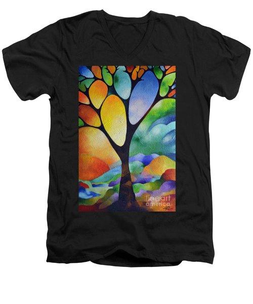 Tree Of Joy Men's V-Neck T-Shirt by Sally Trace