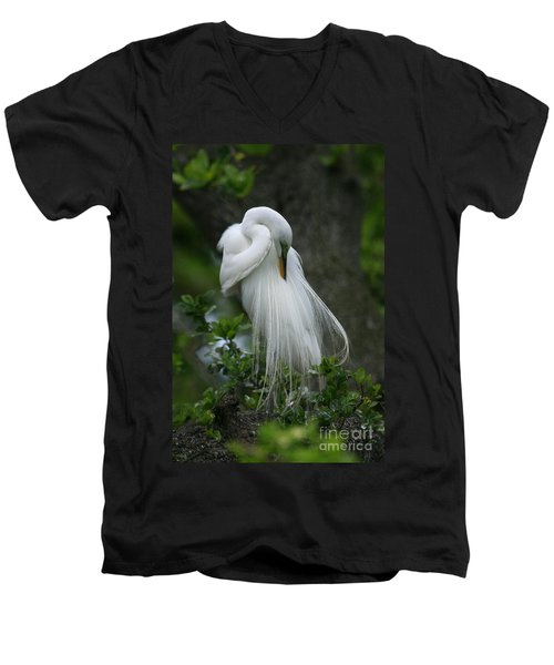 Men's V-Neck T-Shirt featuring the photograph Tree Of Plumes by John F Tsumas
