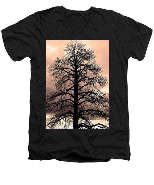 Tree Silhouette Men's V-Neck T-Shirt by Laurel Powell