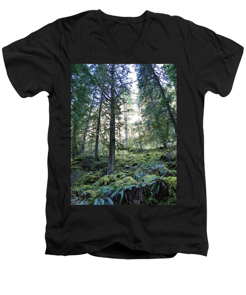Men's V-Neck T-Shirt featuring the photograph Treequility by Athena Mckinzie
