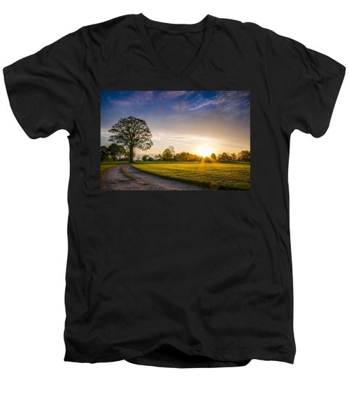 Trees At Dawn On Golf Course Men's V-Neck T-Shirt