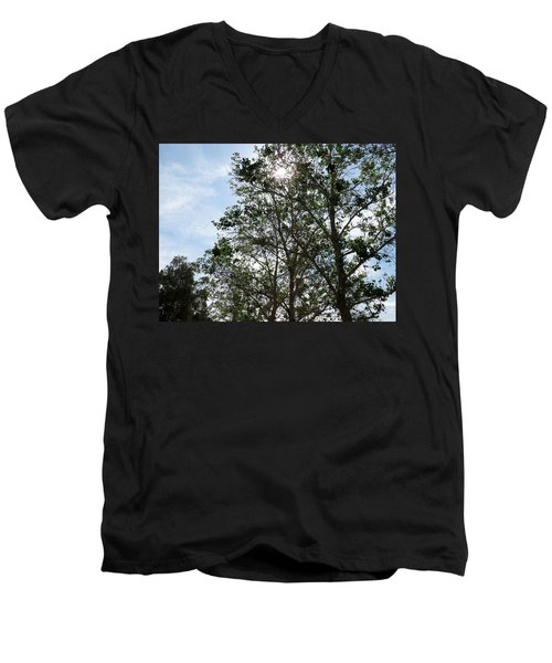 Trees At The Park Men's V-Neck T-Shirt by Laurel Powell
