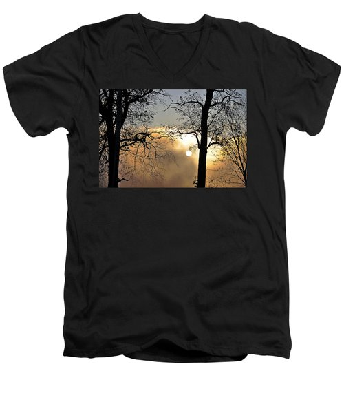 Trees On Misty Morning Men's V-Neck T-Shirt