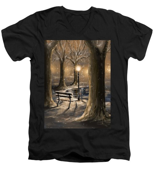 Trees Men's V-Neck T-Shirt by Veronica Minozzi