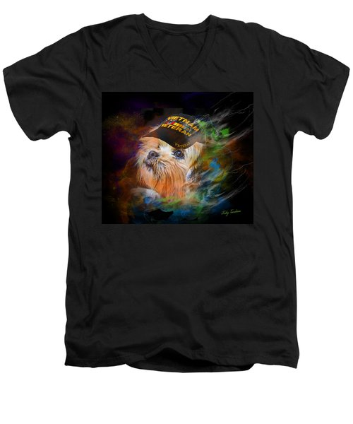 Men's V-Neck T-Shirt featuring the digital art Tribute To Canine Veterans by Kathy Tarochione