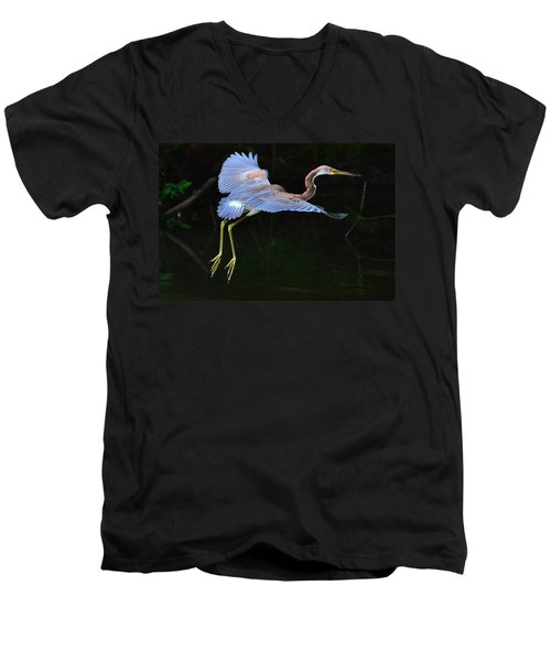 Men's V-Neck T-Shirt featuring the photograph Tricolored Heron by Charlotte Schafer