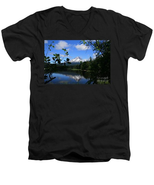 Trillium Lake With Mt. Hood  Men's V-Neck T-Shirt