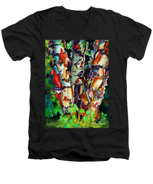 Men's V-Neck T-Shirt featuring the painting Trio Birch 2014 by Kathy Braud