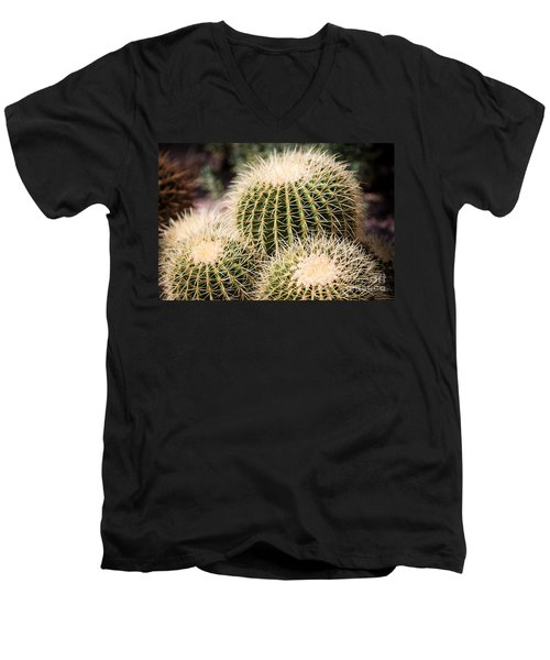 Men's V-Neck T-Shirt featuring the photograph Triple Cactus by John Wadleigh