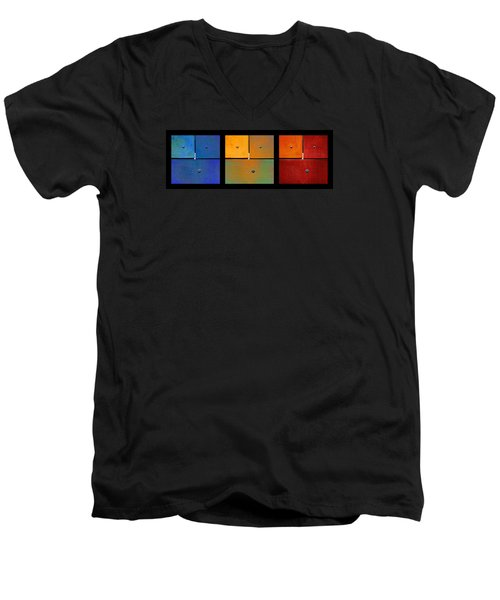 Triptych Blue Green Red - Colorful Rust Men's V-Neck T-Shirt by Menega Sabidussi