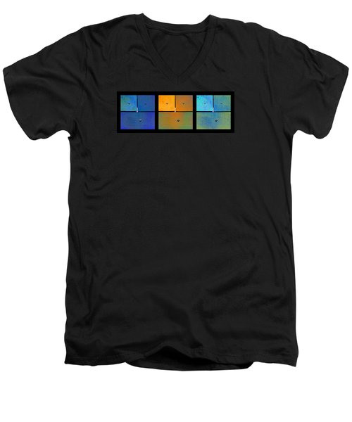 Triptych Blue Orange Cyan - Colorful Rust Men's V-Neck T-Shirt by Menega Sabidussi