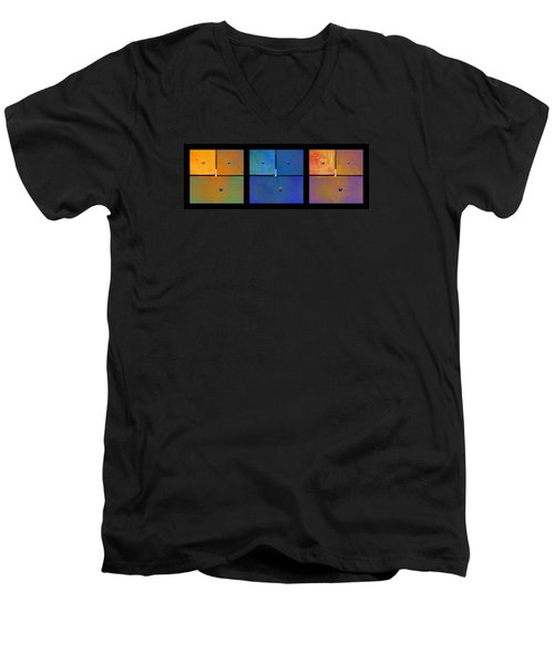 Triptych Orange Blue Gold - Colorful Rust Men's V-Neck T-Shirt by Menega Sabidussi