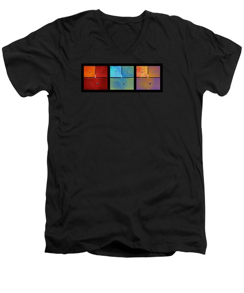 Triptych Red Cyan Purple - Colorful Rust Men's V-Neck T-Shirt by Menega Sabidussi