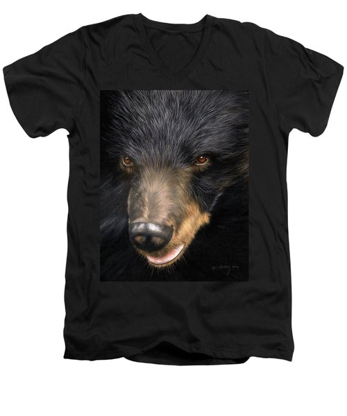 Trixie Moon Bear - In Support Of Animals Asia Men's V-Neck T-Shirt by David Stribbling