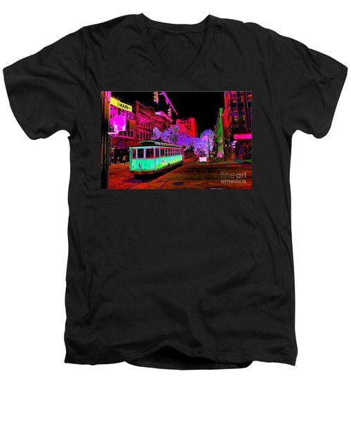 Trolley Night Digital  Men's V-Neck T-Shirt