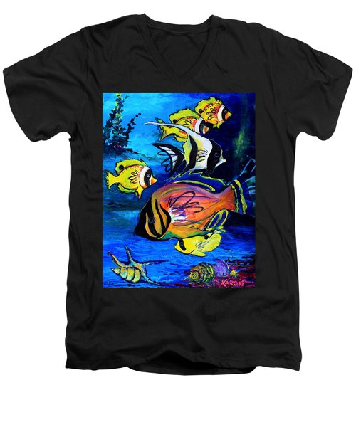 Tropical Fish Men's V-Neck T-Shirt by Karon Melillo DeVega
