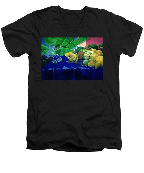 Tropical Fruit Men's V-Neck T-Shirt by Lincoln Seligman