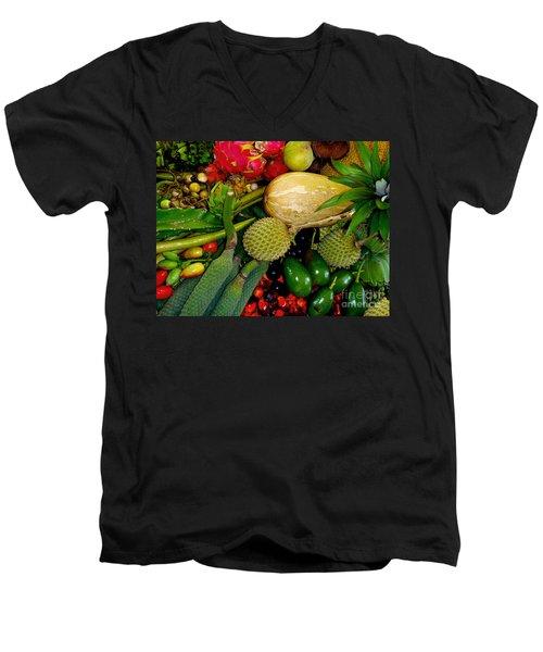 Tropical Fruits Men's V-Neck T-Shirt by Carey Chen