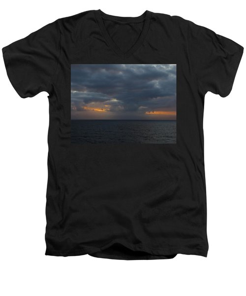 Men's V-Neck T-Shirt featuring the photograph Troubled Skies by Jennifer Wheatley Wolf