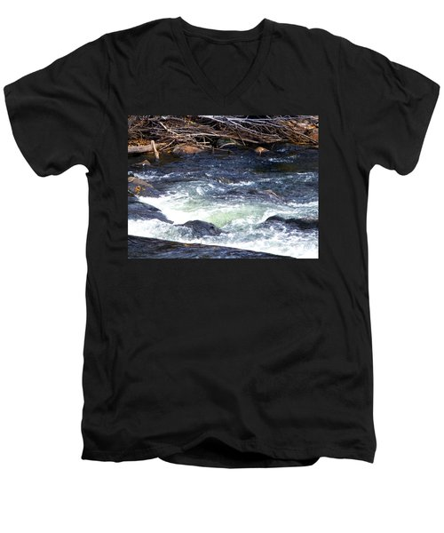 Men's V-Neck T-Shirt featuring the photograph Trout River by Jackie Carpenter