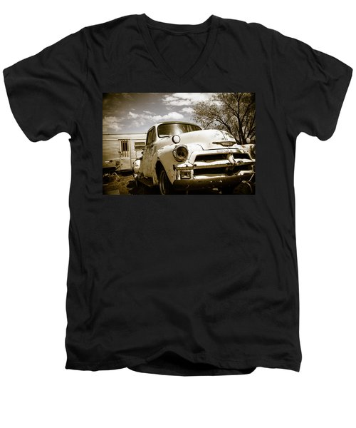 Men's V-Neck T-Shirt featuring the photograph Truck And Trailer by Steven Bateson