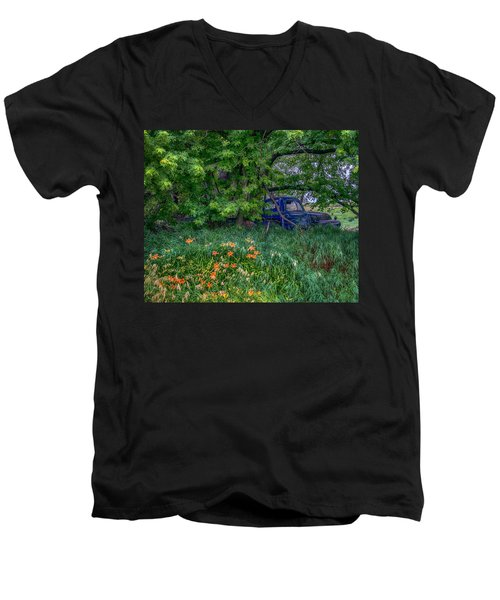Truck In The Forest Men's V-Neck T-Shirt by Paul Freidlund