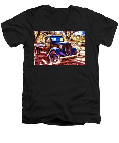 Men's V-Neck T-Shirt featuring the painting Truck by Muhie Kanawati