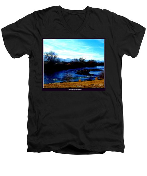 Men's V-Neck T-Shirt featuring the photograph Truckee River In Motion by Bobbee Rickard
