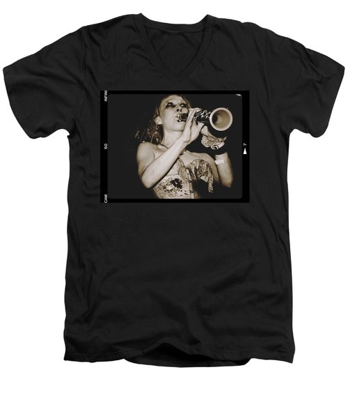 Men's V-Neck T-Shirt featuring the photograph Trumpet Lady by Alice Gipson