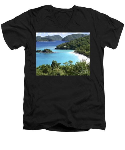 Trunk Bay II Men's V-Neck T-Shirt by Carol  Bradley
