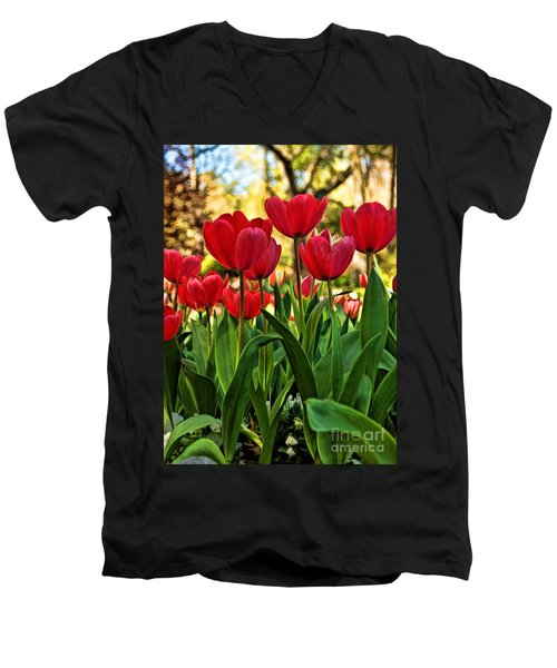 Tulip Time Men's V-Neck T-Shirt by Peggy Hughes