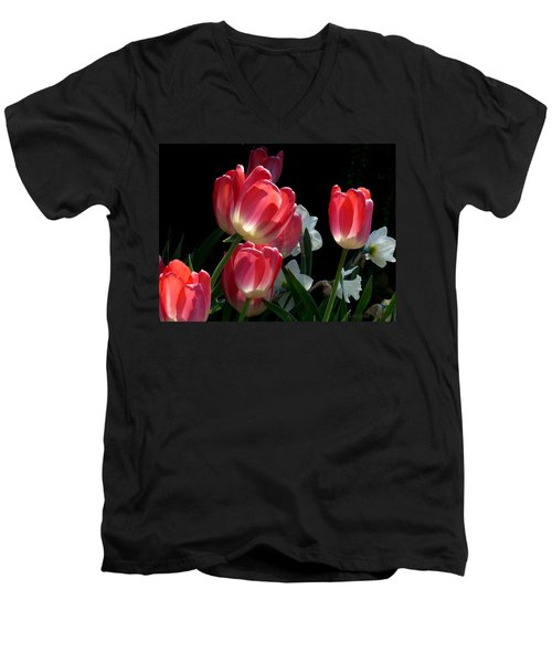Men's V-Neck T-Shirt featuring the photograph Tulips And Daffodils by Lucinda Walter