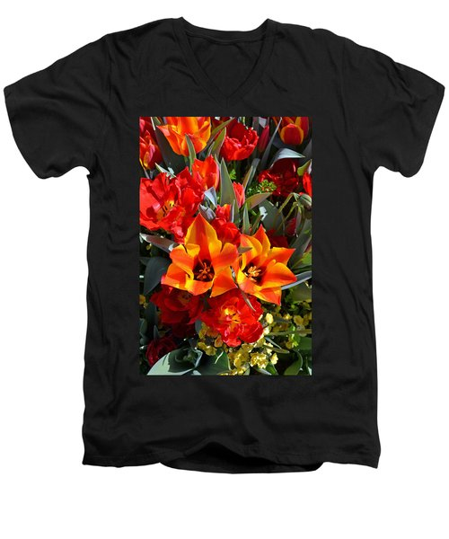 Tulips At The Pier Men's V-Neck T-Shirt by Holly Blunkall