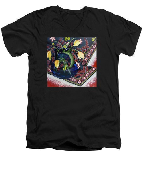 Men's V-Neck T-Shirt featuring the painting Tulips by Helen Syron