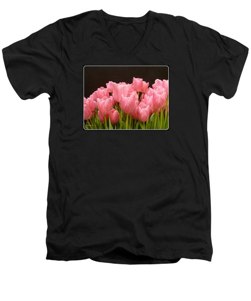 Men's V-Neck T-Shirt featuring the photograph Tulips In Bloom by Lingfai Leung