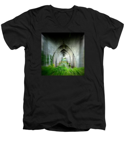 Tunnel Effect Men's V-Neck T-Shirt by Nick Kloepping
