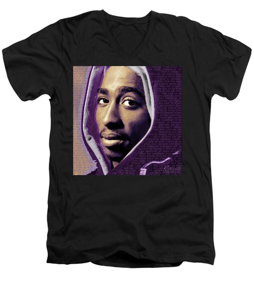 Tupac Shakur And Lyrics Men's V-Neck T-Shirt by Tony Rubino