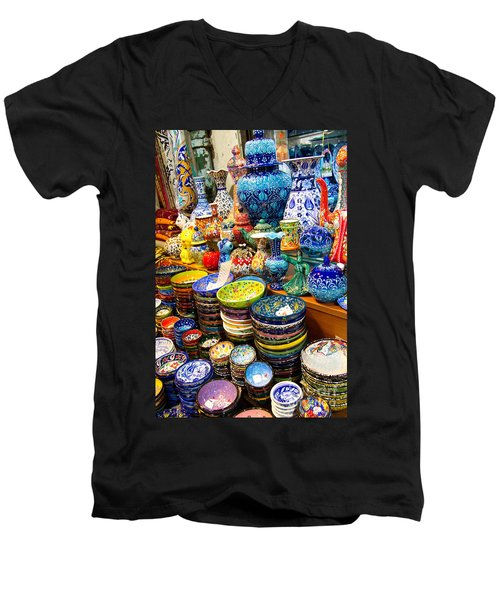 Turkish Ceramic Pottery 1 Men's V-Neck T-Shirt by David Smith