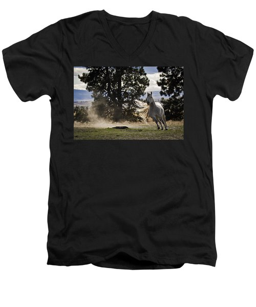 Turning On A Dime Men's V-Neck T-Shirt by Wes and Dotty Weber