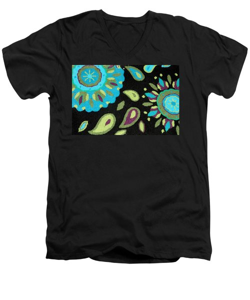 Men's V-Neck T-Shirt featuring the photograph Tapestry Turquoise Rug by Janette Boyd