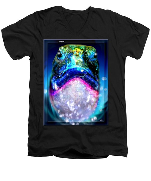 Men's V-Neck T-Shirt featuring the digital art Turtle by Daniel Janda