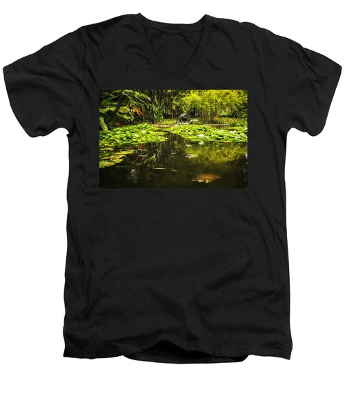 Turtle In A Lily Pond Men's V-Neck T-Shirt by Belinda Greb