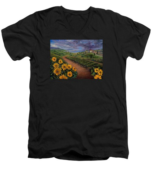 Tuscan Landscape Men's V-Neck T-Shirt by Claudia Goodell