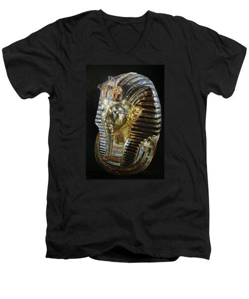 Men's V-Neck T-Shirt featuring the painting Tutankamon's Golden Mask by Leena Pekkalainen