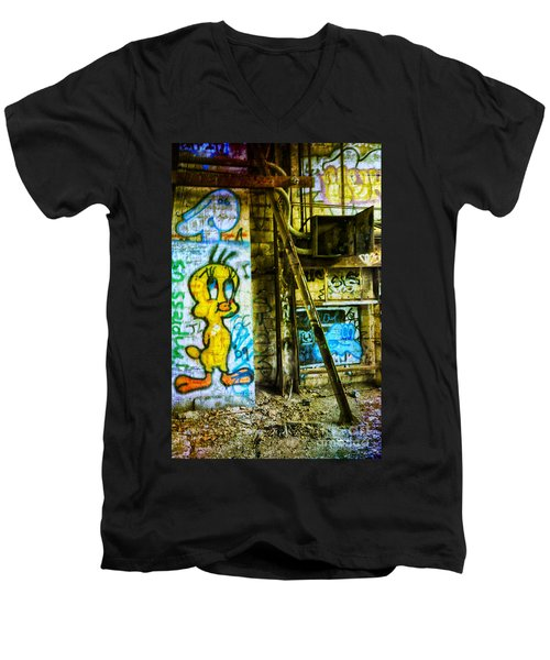 Men's V-Neck T-Shirt featuring the photograph Tweety by Debra Fedchin