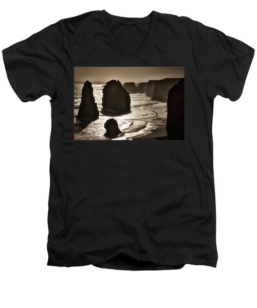 Twelve Apostles #3 - Black And White Men's V-Neck T-Shirt