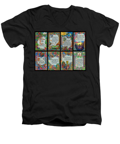 Twenty Third Psalm Collage 2 Men's V-Neck T-Shirt