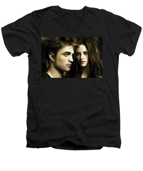 Men's V-Neck T-Shirt featuring the painting Twilight  Kristen Stewart And Robert Pattinson Artwork 4 by Sheraz A