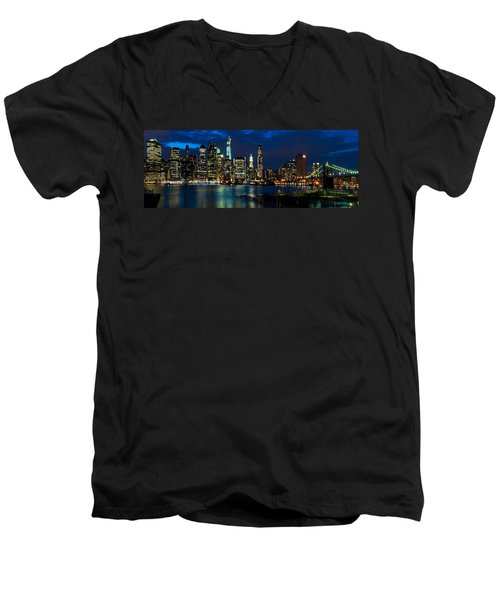 Twilight Nyc Panorama Men's V-Neck T-Shirt