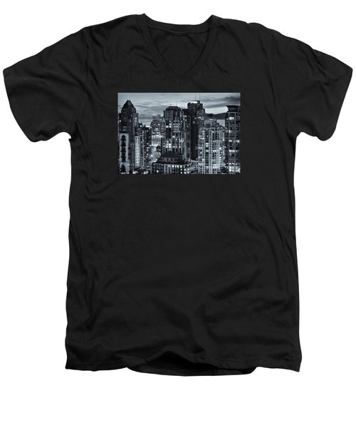 Men's V-Neck T-Shirt featuring the photograph Twilight On Cityscape Of Vancouver Overlooking English Bay - Greeting Card by Amyn Nasser
